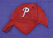 Phillies Hat (on blue) - 5x7 inches
